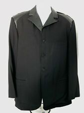 Men's Yohji Yamamoto Pour Homme aw1996 M Leather Wool Coat Blazer Black - NEW
