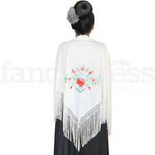 Beautiful New Embroidered Spanish Flamenco Dance Shawl Cream Multi Colour Manton