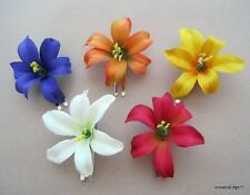 "Small 2"" Multi Lily Silk Flower Hair Clip 5 Piece Lot, Pin Up,Updo"