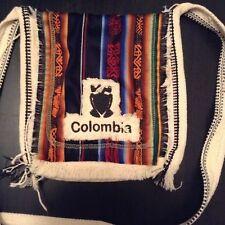 COLUMBIA Ethnic Tribal Ivory Multicolor Shoulder Messenger Strap Bag Purse T2