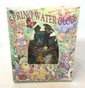 Easter Spring Water Snow Globe Egg Shape Glass Dome Musical Peter Cottontail