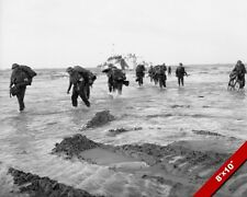 D-DAY INVASION SWORD BEACH NORMANDY COAST SOLDIERS PHOTO WWII REAL CANVAS PRINT