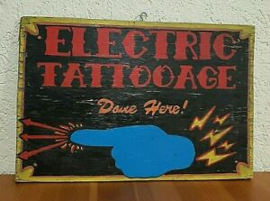 Hand Painted Weathered Wood Electric TATTOO AGE Body Art Distressed Wall Sign