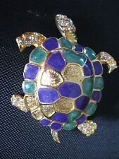 NICELY DETAILED BLUE & GREEN ENAMEL ON GOLD TONE TURTLE BROOCH