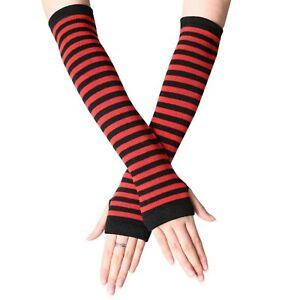 Fingerless Thumb Gloves Arm Warmers Striped Ladies Women Mitten Black and Red