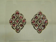 EARRINGS:  LOVELY NEW RED GARNET ROUND CUT SILVER DETAILING WHITE GOLD FILLED
