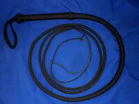 NYLON  whip 16 plait  11 ft 8inches bullwhip whips bullwhips BLACK indiana jones
