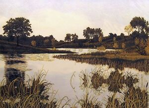 "Gordon Mortensen ""Autumn Sunset"" Signed Woodcut Reduction Art SUBMIT BEST OFFER!"