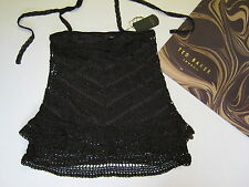 RRP€79.99 TED BAKER CHOCOLATE BROWN CROCHET TOP SIZE 1 SMALL BRAND NEW WITH TAGS