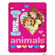 "Disney Princess Palace Pets 46""x60"" I Love Animals Fleece Throw, Multi"