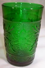 HOCKING GLASS CO.SANDWICH FOREST GREEN 5-OUNCE FLAT JUICE TUMBLER!