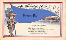 Hensel Pennsylvania~Soldier Boy Holds Flag Pennant~Troops~1921 Postcard