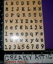 DISTRESSED TYPE SET ALPHABET BACKGROUND RUBBER STAMP STAMPENDOUS R140