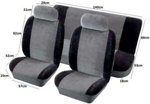 Airbag Safe Full Set Fabric Velour Seat Covers/Protectors Grey/Black For Daewoo