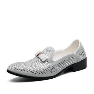 New Style Nightclub Style Men Rhinestone Pointed Toe Flat One-Pedal Leather Shoe