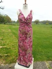 Flattering NEXT Pink Mix Viscose Maxi Long Stretch Dress Size 12 Tall Worn Once