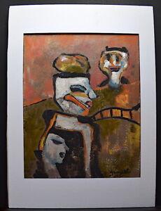 Expresionista Fauvismo Personajes Firmado Grimalt a Identificar 1972 Arte