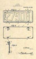 Official 1922 California License Plate US Patent Art Print- Vintage Antique 306