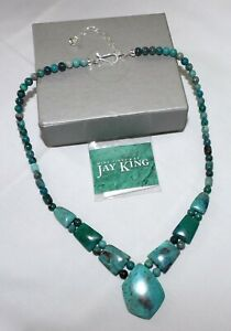 Jay King Blue-Green Mexican Chrysocolla Necklace w/Sterling Clasp NEW 755-401