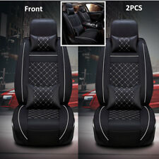 Deluxe Car Seat Cover Seat Cushion For 5-Seat Auto PU Leather Front x2 w/Pillows