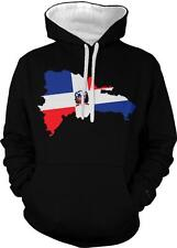 Dominican Republic Flag Imprint Country Outline Bandera 2-tone Hoodie Pullover