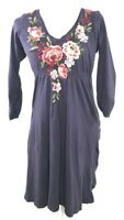 JWLA Johnny Was Women's Size Small Embroidered Purple Dress Floral Cotton V-Neck