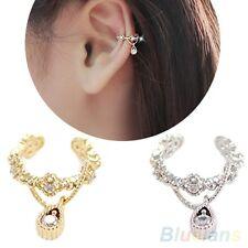 UK STOCK nuovo elegante oro placcato Crystal e Diamonte Punk EAR cuff orecchino a clip