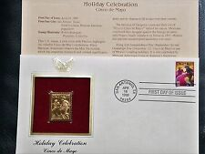22K Gold 1998 Cinco de Mayo 1st Day Cover Gold Proof Stamp Replica NO Address