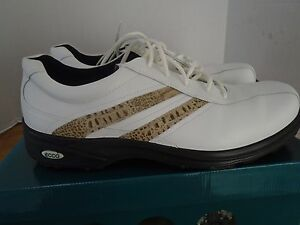 Ecco Golf Shoes 13 M 47 Classic White Brown Soft Spikes Leather