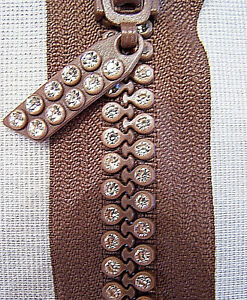 Chocolate Brown 9 Inch or 23 cm Double Row Crystal Rhinestone Closed End Zipper