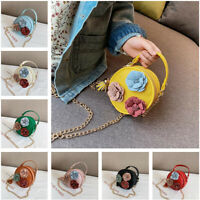 Children Kids Girls Shoulder Crossbody Bag PU Leather Cute Round Chain Small Bag
