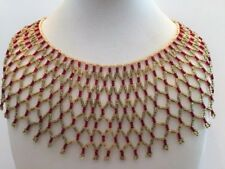 VINTAGE RED & GOLD TONE GLASS SEED ORNATE BIB NECKLACE