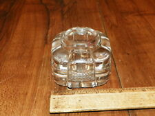 Vintage Art Deco Clear Glass Inkwell - No Cap                                  !