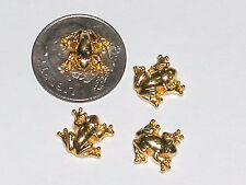 2 Miniature dollhouse tiny Golden Little Frogs Lucky beads flatback findings 9mm