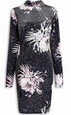 BNWT🌷NEXT🌷SIZE 14 UK Black Velvet Floral Print Bodycon Long Sleeve Dress New