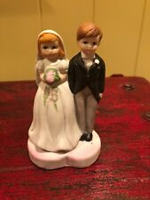 Vintage Bride and Groom Cake Topper - Red haired Bride and Sandy haired Groom
