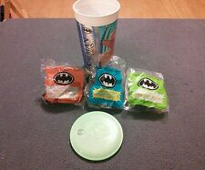 McDonalds 1991 Set of 3 Batman Toys For Happy Meal NIP Mint Never Opened w/ cup