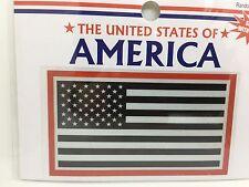 "Reflective USA American Flag Vinyl Window Sticker Decal  2""x3.75"" (Red Border)"