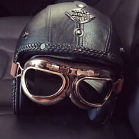 Motorcycle Helmet Open Face 3/4 Deluxe Leather Retro Pilot Goggles Street Bike