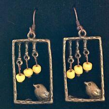 Antique Bronze Bird in Window Handmade Earrings with Yellow Czech Glass Beads