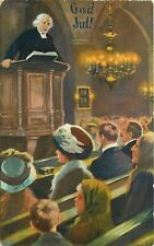 Christmas~Church Pews~Minister Pulpit~Lit Candle Chandelier~Germany~Nystrom