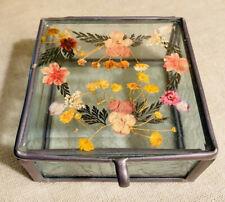 New ListingEtched Glass Trinket Jewelry Box, Dried Pressed Wild Flowers, Handmade