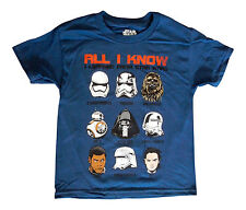 Star Wars All I Know Chewbacca Kylo Ren BB8 Rey Kids Youth Large Blue Shirt