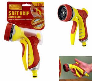 9 Dial Pro Gold Soft-Grip Deluxe Spray Gun Watering Garden Adaptor Hose Pipe