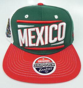 MEXICO SOCCER FUTBOL WORLD CUP EL TRI FLAT BILL 3-TONE SNAPBACK Z CAP HAT NEW!