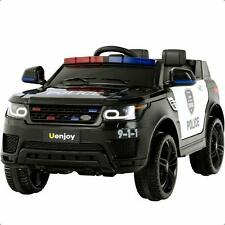 12V Electric Kids Ride On Police SUV Toy Car Remote Control LED&Music&Horn Black