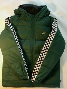Vans New Woodridge Puffer Checkered Jacket Youth Boy's Coat Size Medium