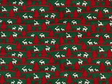 Christmas Red & Green Reindeer Fabric - Pillow Making - Sewing - Arts & Crafts