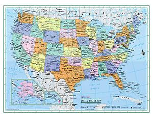 "USA United States Wall Map 32""x24"" LARGE PRINT Laminated"