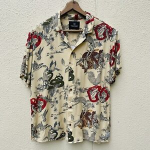 Scotch And Soda mens Button up Shirt. Size M Hawaiian Loud party Print colourful